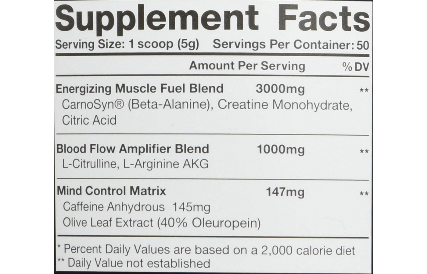 Curse Supplement facts