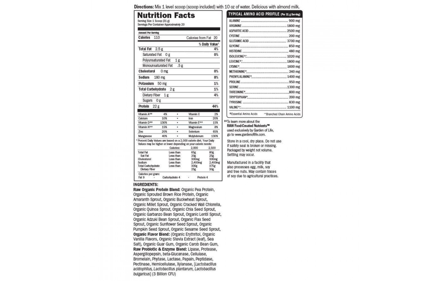 Garden of Life Nutrition Facts