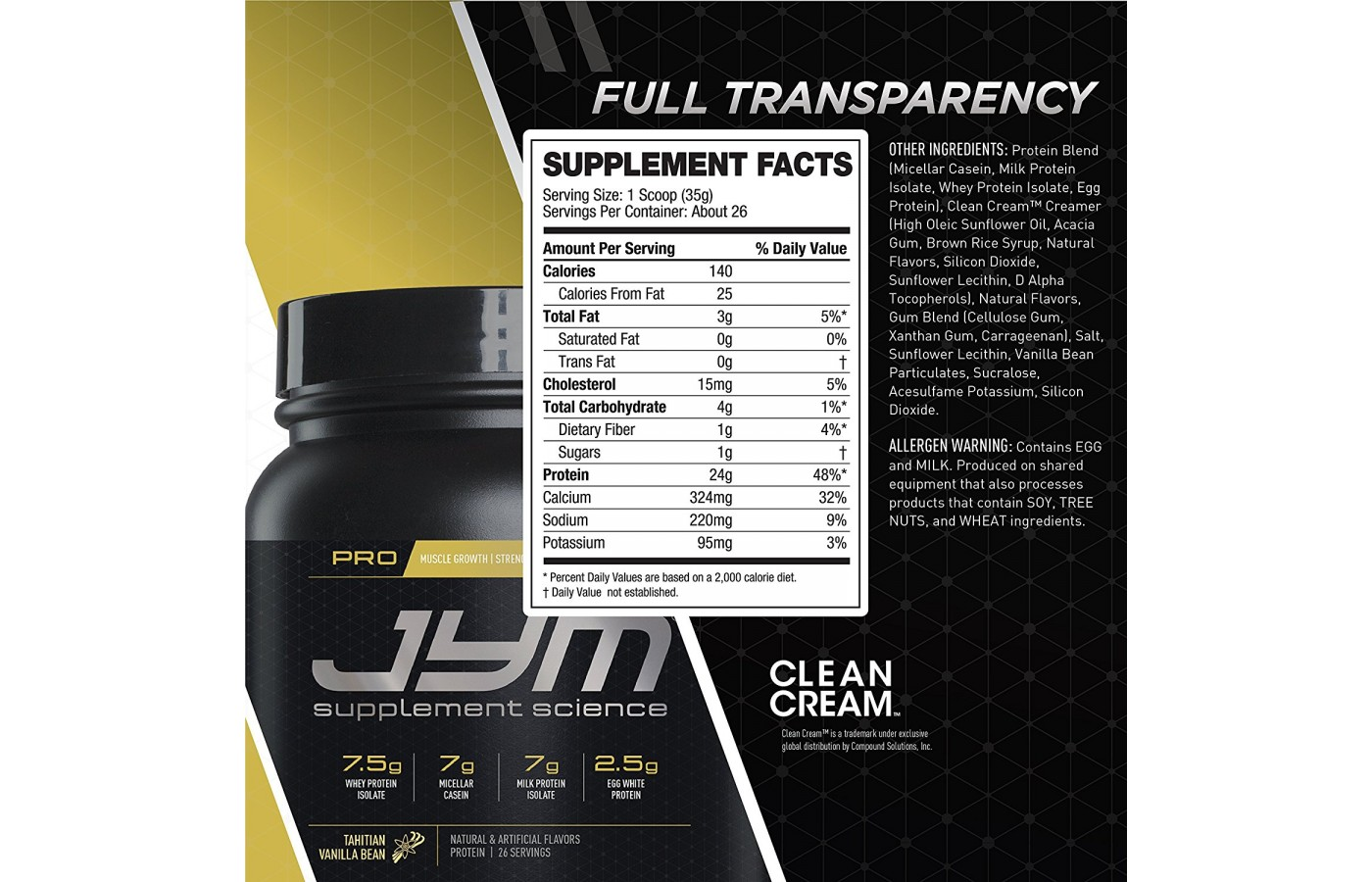 JYM Supplement Facts