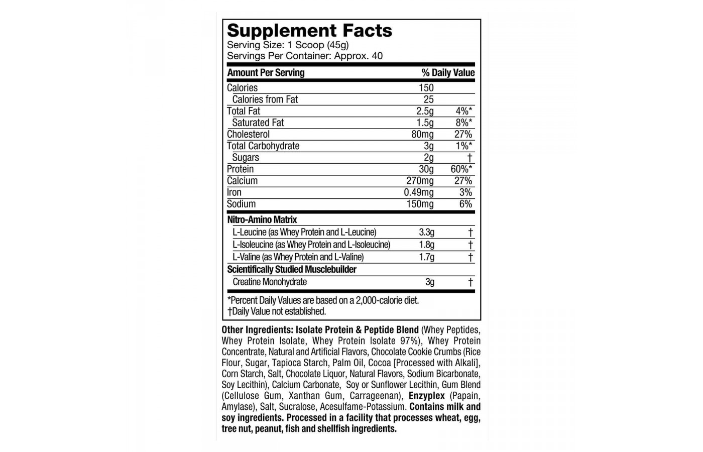 Nitro Tech Nutrition Facts