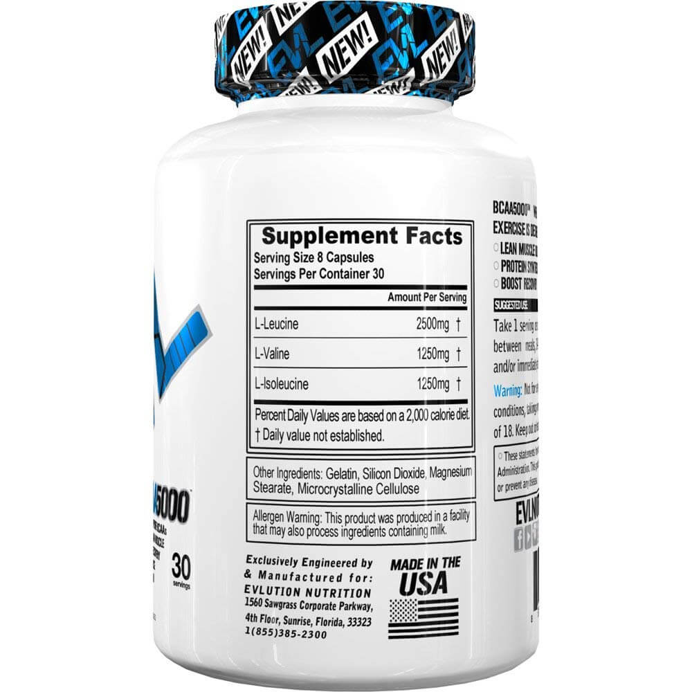 BCAA 5000 Cap Sup Facts