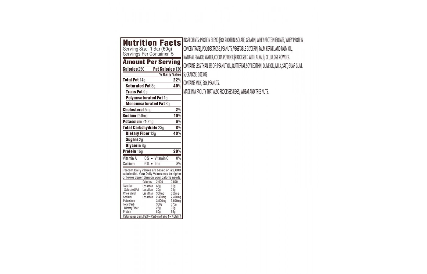 Atkins Nutrition Facts