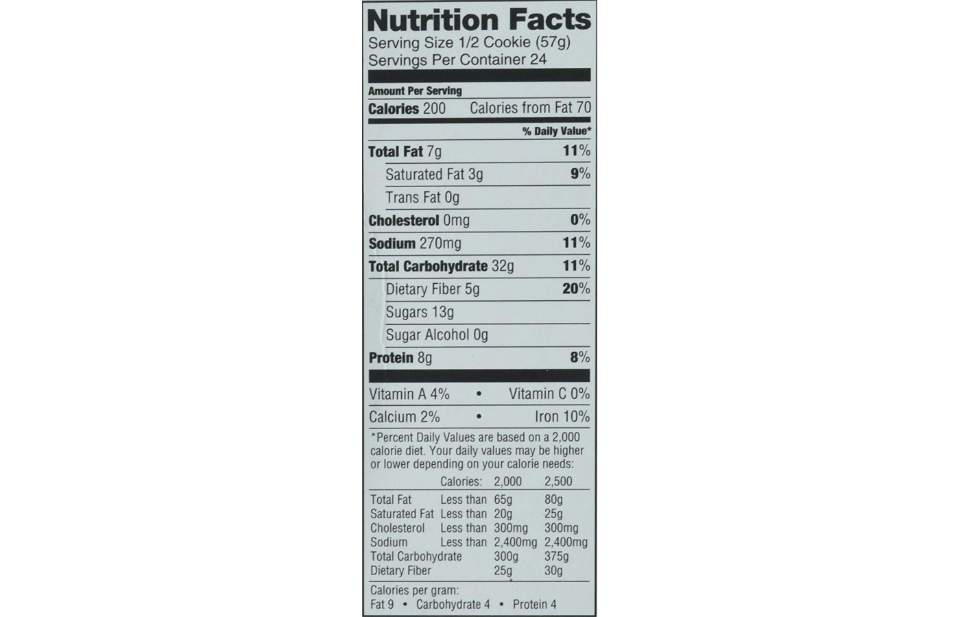Complete Cookie 4oz nutrition facts