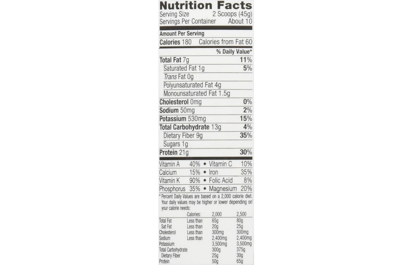 GoLean Nutrition Facts powdered