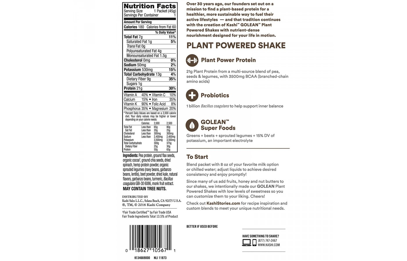 GoLean Nutrition Facts
