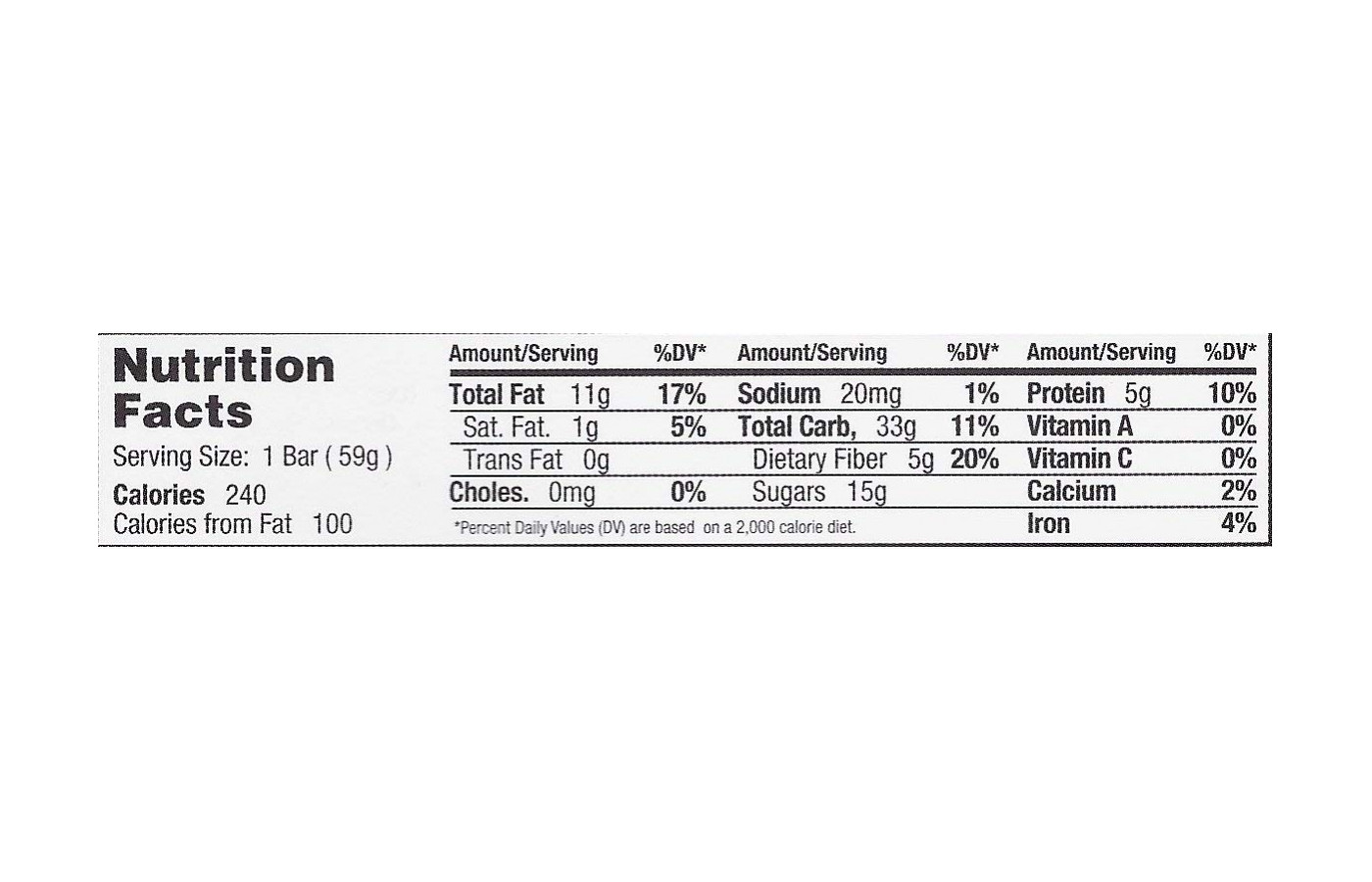 GoMaco Nutrition Facts
