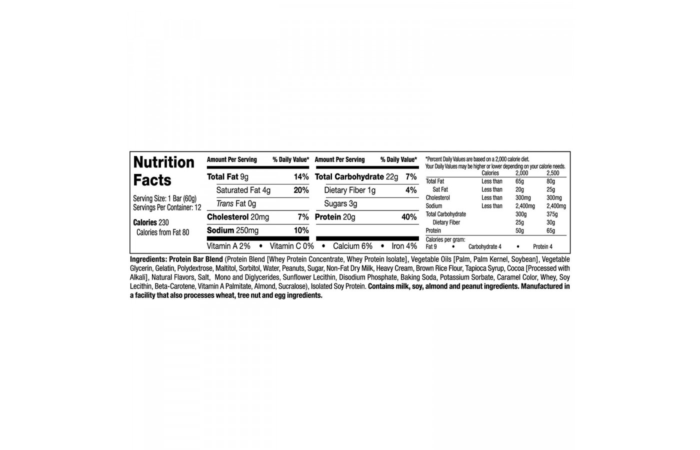 MT Gronk Choco Caramel Peanut Nutrition Facts