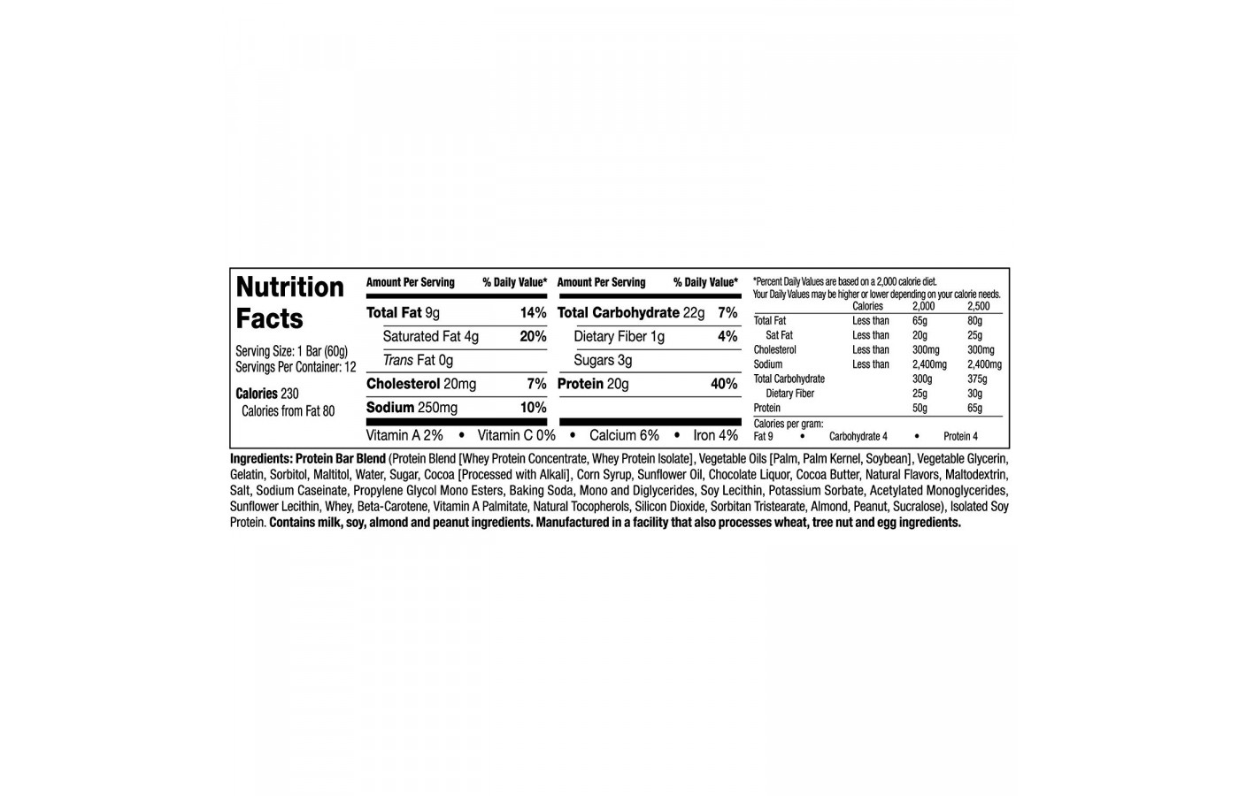 MT Gronk Choco Deluxe Nutrition Facts