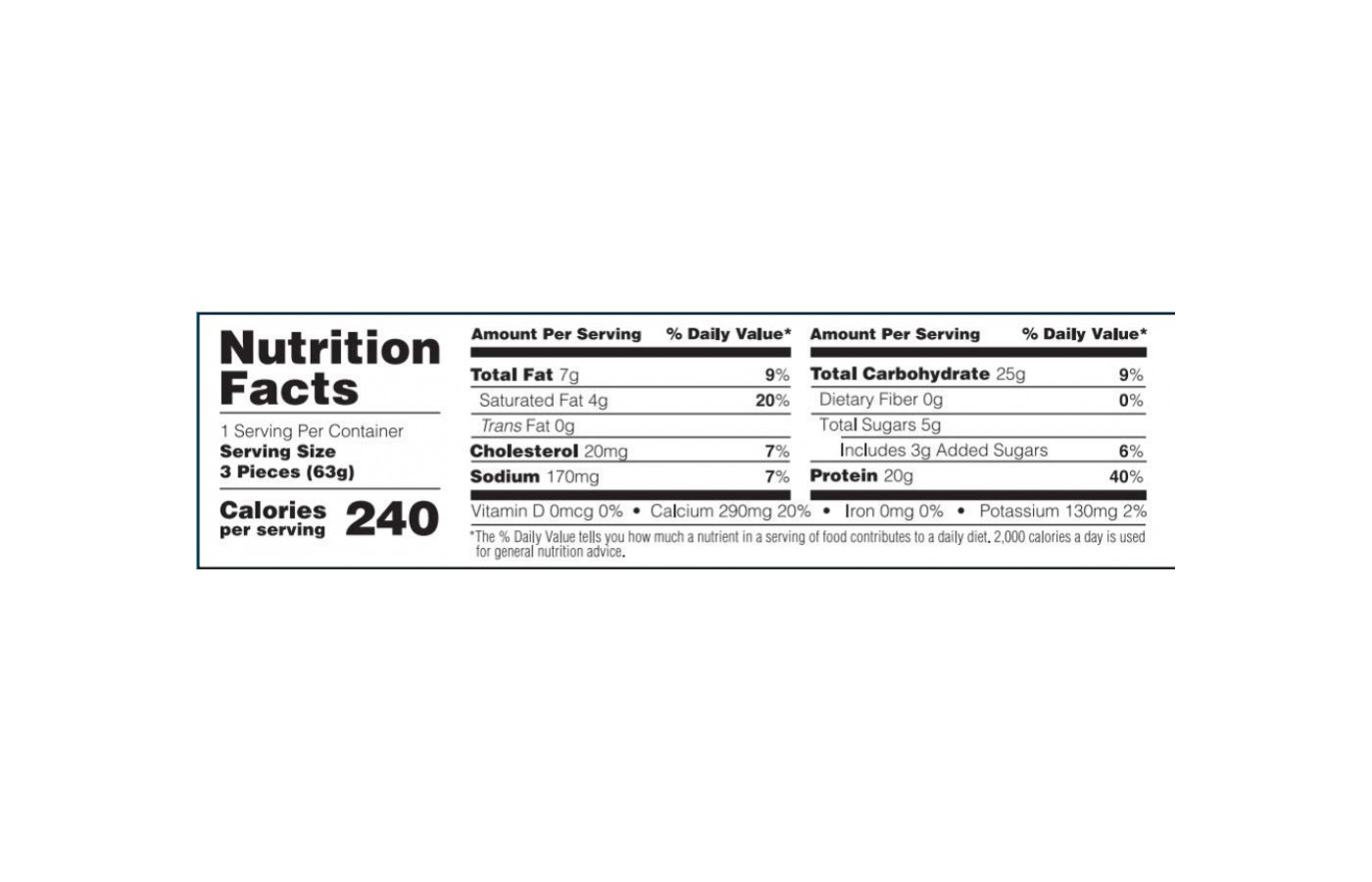 ON Cake Bites Nutrition Facts