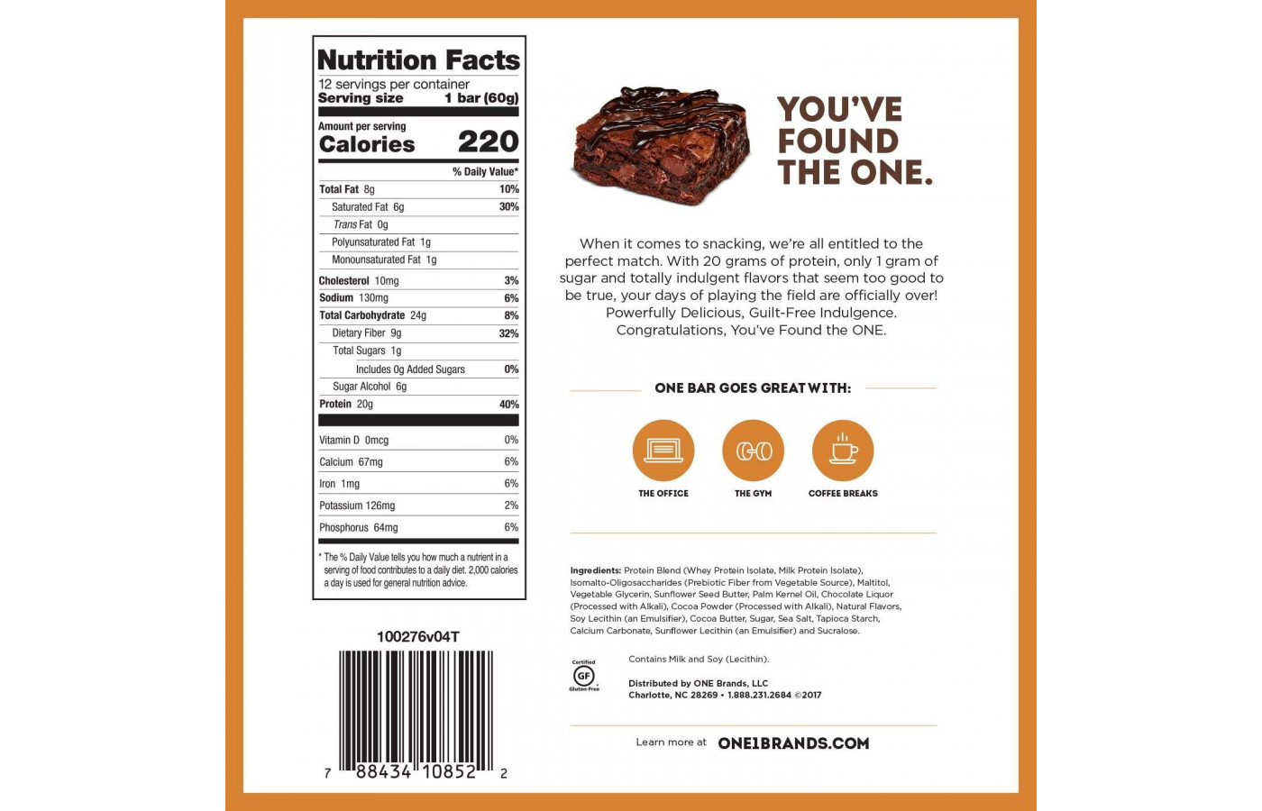 One Choco Brownie nutrition facts