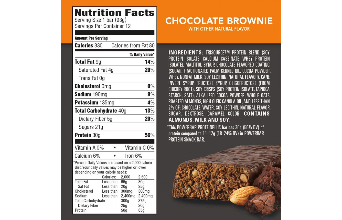 PowerBar Protein Plus Brownie Nutritional Facts