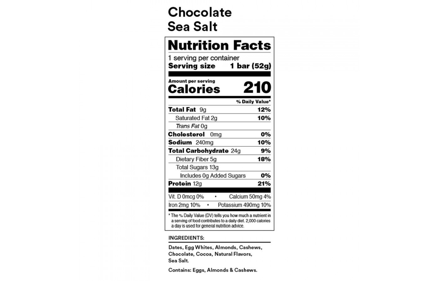 RXBAR Nutrition Facts