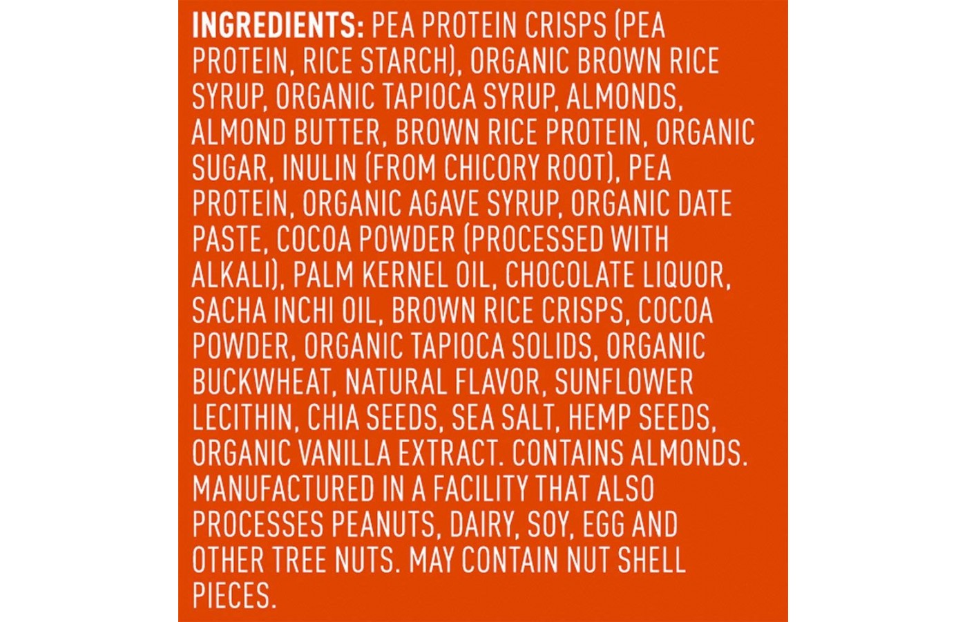 Vega Snack Ingredient lists