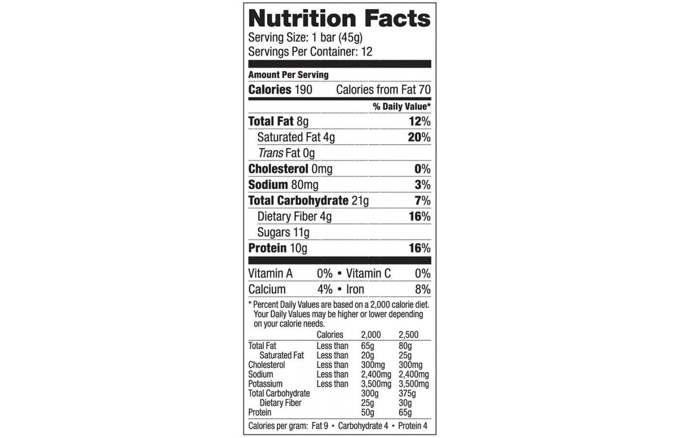 Vega Snack Nutrition Facts