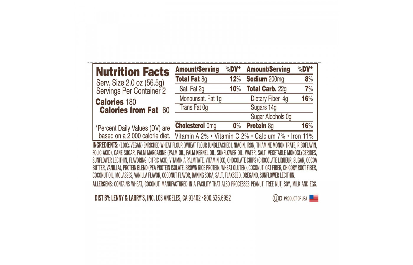 complete cookie 2oz nutrition facts