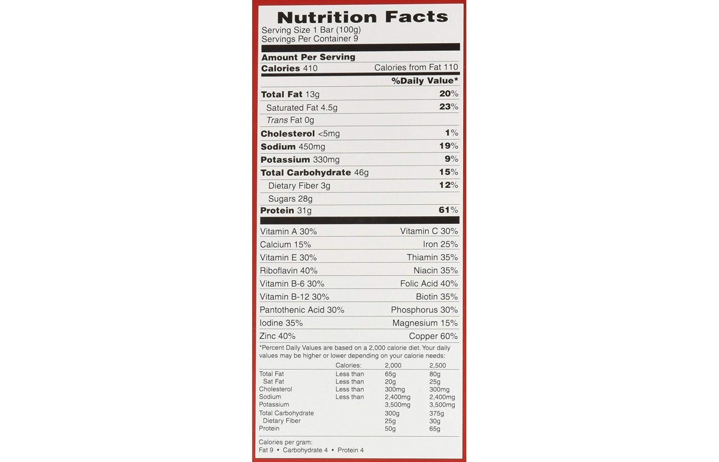 metrx nutrition facts