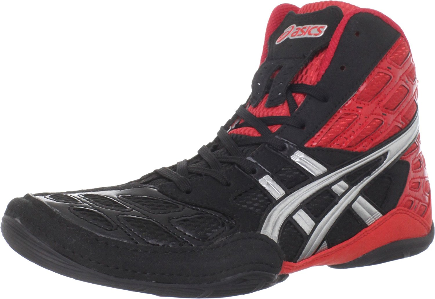 red and black asics wrestling shoes