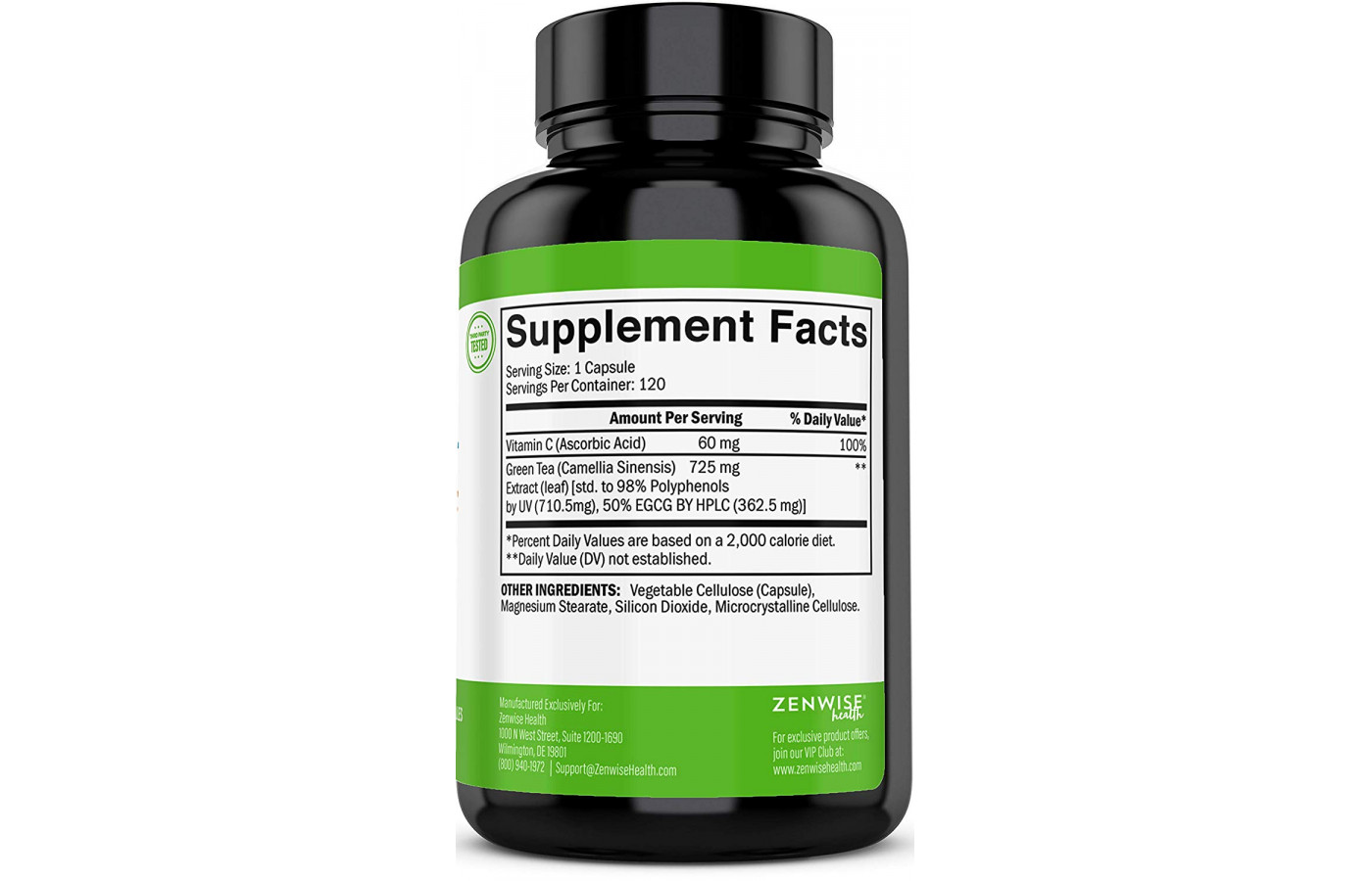 zenwise green tea extract supplement facts