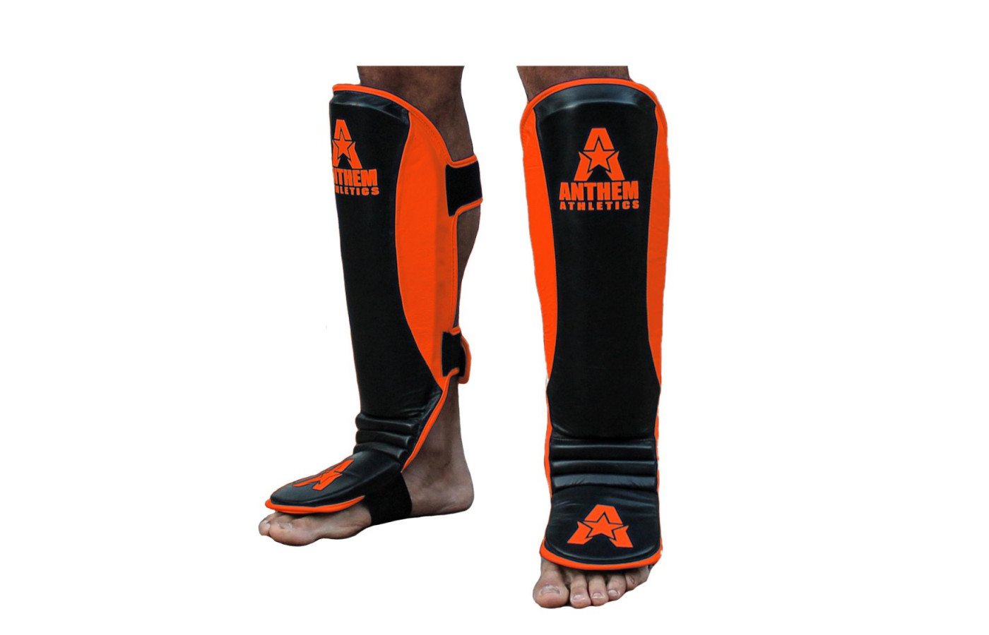 anthem athletics fortitude shin guard black and orange