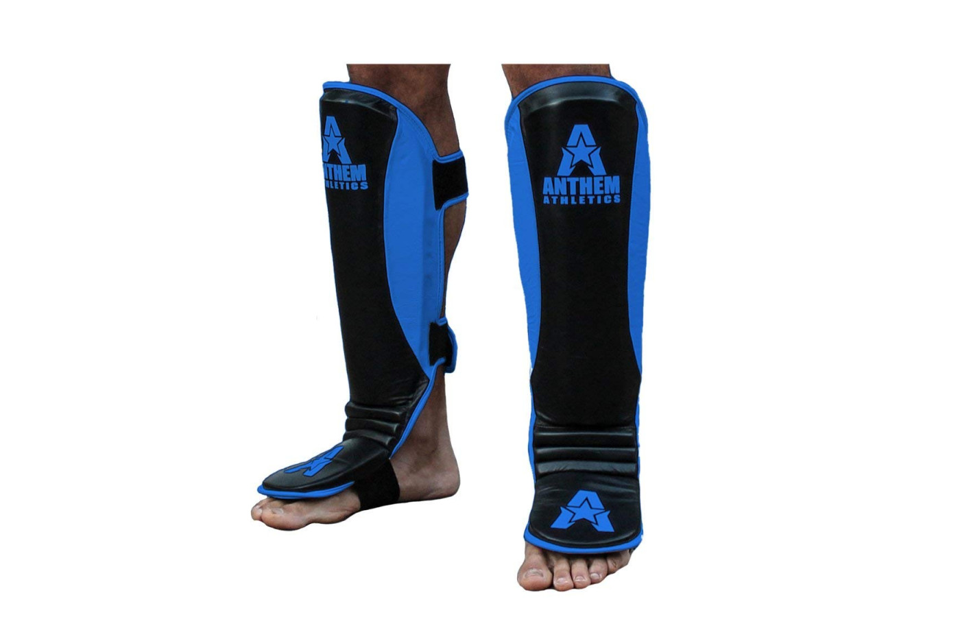 anthem athletics fortitude shin guard bright blue and black