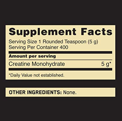 Optimum Nutrition Micronized Creatine Powder Label