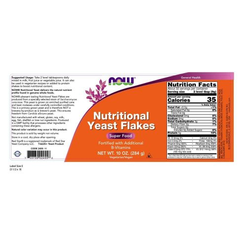 NOW Supplements Nutritional Yeast Flakes Label