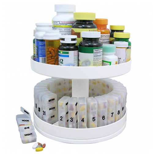 Revolving Medicine Center - Monthly Pill Organizer - 31 Day Pill Compartments fighting report